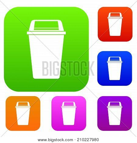 Plastic flip lid bin set icon color in flat style isolated on white. Collection sings vector illustration
