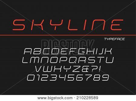 Skyline vector decorative italic font design, alphabet, typeface, typography
