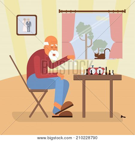 Retired age alone man in flat character design. Cartoon of chess player at home. Senior indoor isolated. Vector illustration eps 10