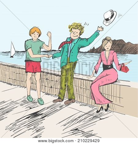 Comic strip. Two men met by a sea. Friendly greeting. One hat flew off. Girl dressed in dress and heels. Sketch style. Vector illustration