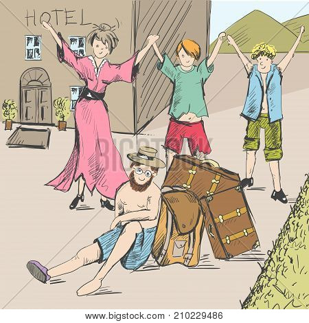 Comic strip. Tired travelers come to civilization. A guide is exhausted, a man is sitting on the ground. A group of people are happy in the background of the hotel. Sketch style. Vector illustration