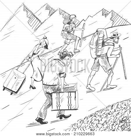 Comic strip. Tired travelers climb a mountain. Tourists follow the guide. Hot summer. Mountains with snow. A husband took heavy suitcases and his wife goes on a mountain in heels. Sketch illustration