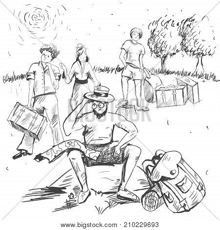 Comic strip. Man sitting on a stone and thinking. Tourism. A guide has a route map on his knees. Near a guide grows flowers. Group of people are waiting for a decision of guide. Dissatisfied persons.