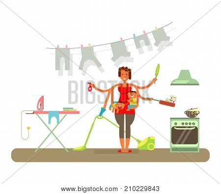 Housewife in funny cartoon style for infographic. Homemaker is cleaning, ironing, cooking, wash and child rearing vector illustration.