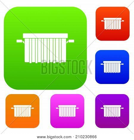Garbage tank set icon color in flat style isolated on white. Collection sings vector illustration