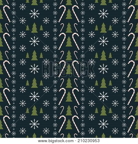 Seamless New Year pattern of snowflakes, Christmas trees and candy canes. Vector illustration for festive design