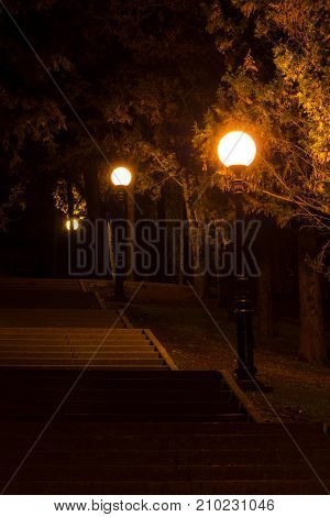 Night view of the illuminated park with concrete stairs and streetlights Sochi Russia