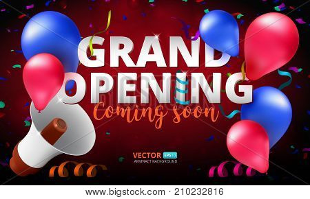 Grand Opening event invitation banner or poster design template. Vector illustration of megaphone air balloons and confetti. Perfect to use for advertising design your web site or print publications
