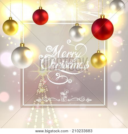 Christmas greeting card with Christmas tree decorations fireworks and spruce