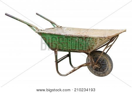 Empty wheelbarrow for cement isolated on white background with clipping path