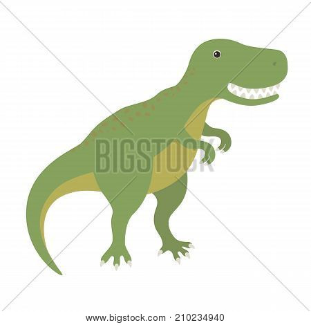 Tyrannosaurus Dinosaur T-Rex . Cartoon dino. Flat vector illustration isolated on white background.