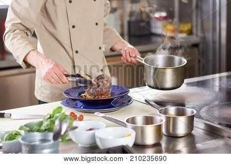 Chef putting lamb shank in plate. Cropped image of male chef putted shank of lamb in plate. Chef cooking meat with vegetables at prfessional kitchen.