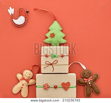 Christmas Gift boxes holiday, Happy Gingerbread, Fir. Fun New Year XMAS Design Ornament. Christmas background decoration Handmade. Festive Art Colorful Greeting Card on Yellow