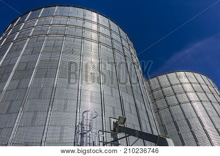 Indianapolis - Circa October 2017: Pair of Brock Stiffened Grain Bins. Brock is a Division of CTB a Berkshire Hathaway Company II