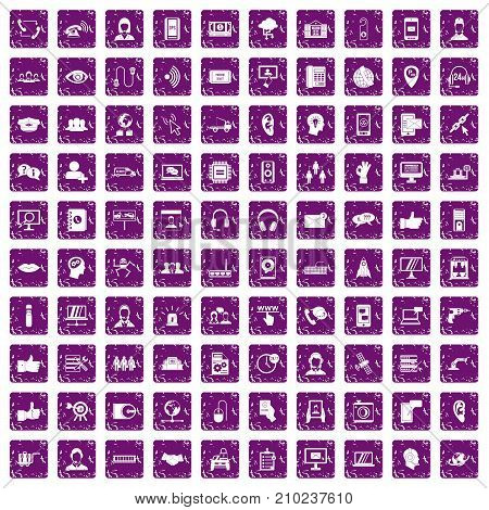 100 call center icons set in grunge style purple color isolated on white background vector illustration