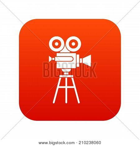 Retro film projector icon digital red for any design isolated on white vector illustration