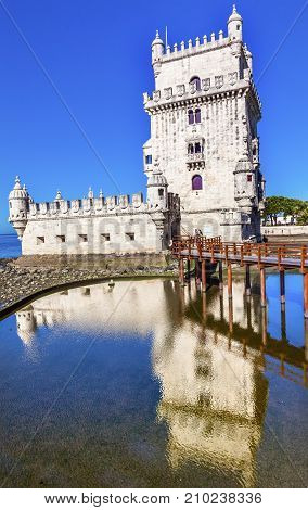 Belem Tower Torre de Belem Portuguese Symbol of Exploration Lisbon Portugal. Belem Tower was constructed in early 1500s on Tagus River and last point Portguese explorers saw when left Lisbon.