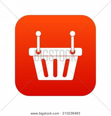 Shopping cart icon digital red for any design isolated on white vector illustration