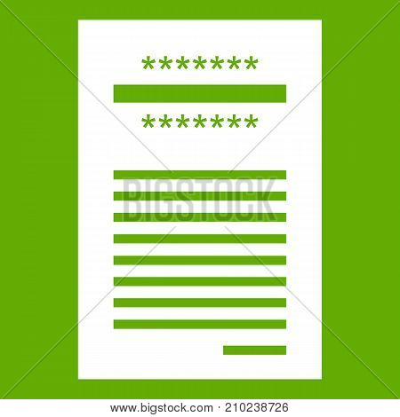 Sales printed receipt icon white isolated on green background. Vector illustration