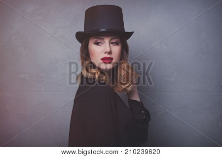 Style And Mystique Redhead Girl In Top Hat