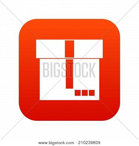 Box icon digital red for any design isolated on white vector illustration