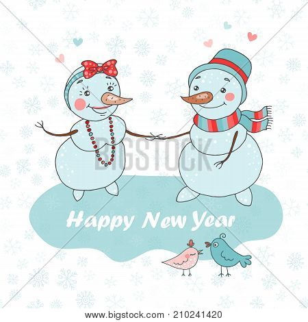 Christmas Greeting Card with two cute snowman that fallen in love and birds on white background with snowflakes . The phrase - Happy New year. Lovely illustration in cartoon style.