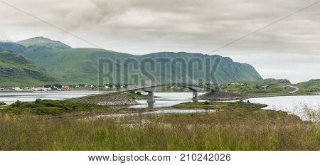 The Fredvang Bridges Fredvangbruene are two cantilever bridges Flakstad Nordland county Norway. National Tourist Route Lofoten