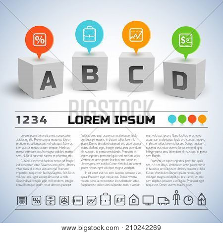 Abstract business geometric infographics with four 3d cubes text line icons on light background vector illustration