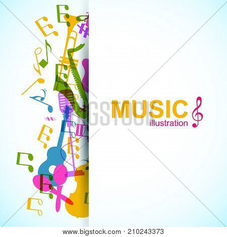 Musical abstract background with place for text colorful music instruments and notes silhouettes vector illustration