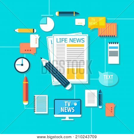 Mass media broadcasting news with journalistic equipment and accessories in flat style on blue background vector illustration