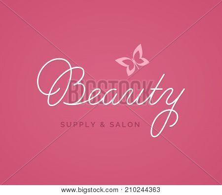 Beauty Logo Vector Lettering. Custom Handmade Calligraphy. Vector Illustration.