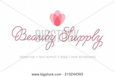 Beauty Supply Logo Vector Lettering. Custom Handmade Calligraphy. Vector Illustration.
