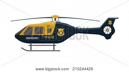 Police helicopter icon. Aircraft vehicle. Urgency and emergency services. Vector illustration in flat style