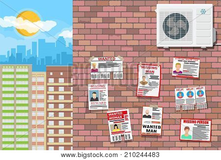 Wanted person paper poster on brick wall. Missing announce. Information tear off papers. Search for lost person in big city. Cityscape, buildings, sky, clouds, sun. Vector illustration in flat style