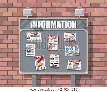 Wanted person paper poster. Missing announce. Information tear off papers. Search for lost person in big city. Brick wall. Vector illustration in flat style