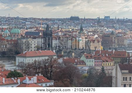 View of Charles Bridge from st. Vitus cathedral, Prague