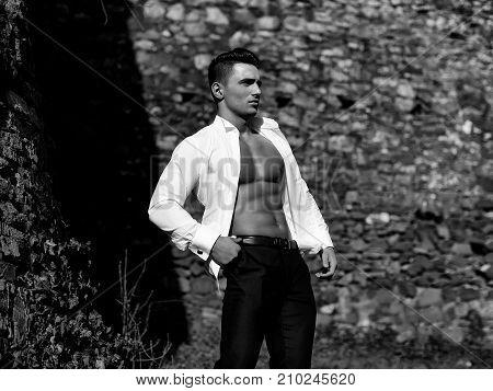 Model In Shirt Gaped Open
