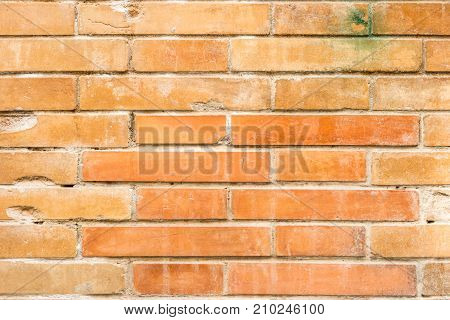 Detailed weathered stained old brick wall background.