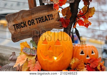 Pumpkin ghosts with Trick or Treat letters on wood sign for halloween festival