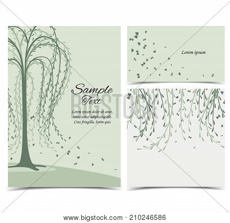 Vector illustration of birch and butterflies. Invitation card with tree. Set of greeting cards