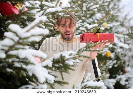 Man Holding Present Box On Winter Day