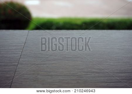 Wooden Board Empty Table Top On Of Blurred Background.