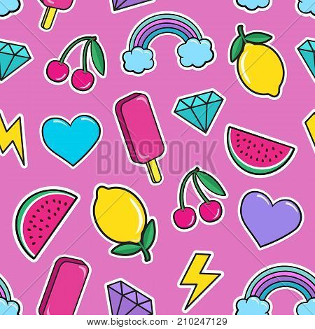 Cute seamless pattern with colorful patches. Stickers of ice cream, cherry, watermelon, rainbow lemon diamonds etc on pink background. Fashion cool patches and stickers. Vector illustration.