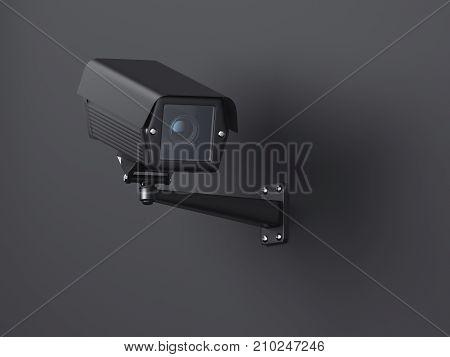 Black street camera on a dark background. 3d rendering