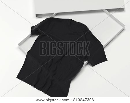 Black T-shirt in a white box. The concept of a gift. 3d rendering
