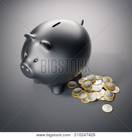 Black piggy bank with a bunch of one euro coins. 3d rendering