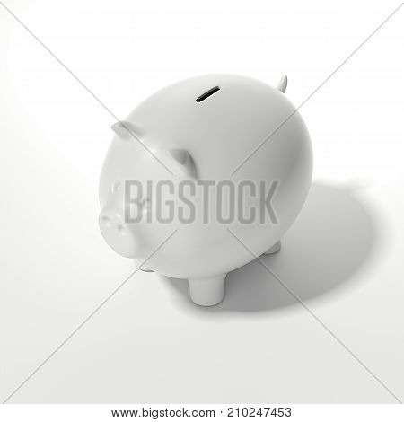 White piggy bank on a light background. 3d rendering