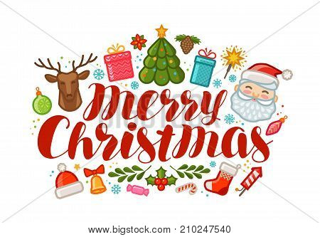Merry Christmas, greeting card or banner. Xmas, holiday concept. Cartoon vector illustration isolated on white background