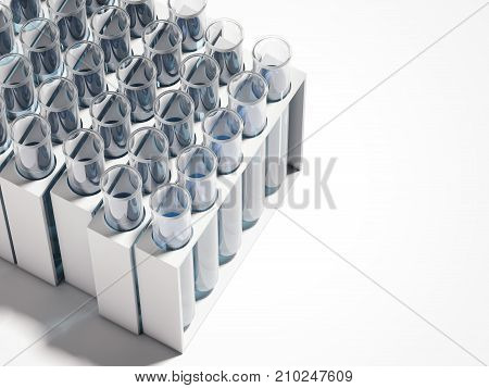 Test-mixers with blue liquid isolated on white. 3d rendering
