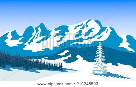 Winter landscape with silhouettes of mountains and forest. Snow and shadows. Vector illustration. Peaks, hills, trees, mist, sun beam with sunrise or sunset sky. For prints, posters, wallpapers, web